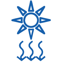 Sunlight icon for the Premier Cancer Alliance showing UV radiation as a factor that increases cancer risk